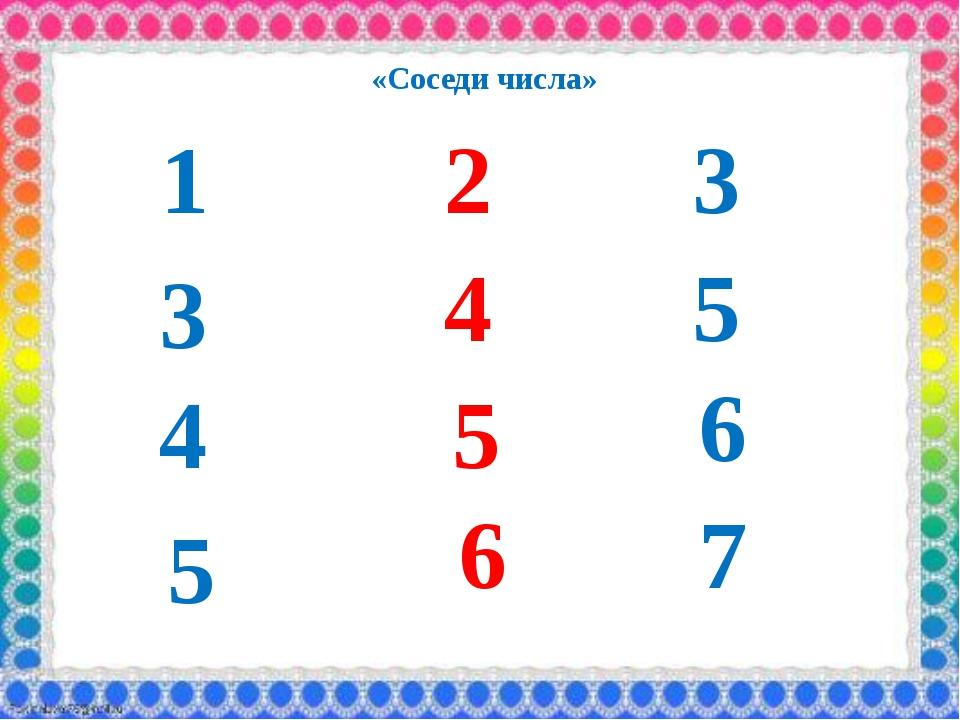 1 2 3 3 4 5 «Соседи числа» 4 5 6 5 6 7