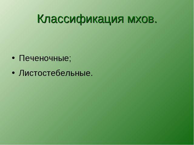 Классификация мхов. Печеночные; Листостебельные.