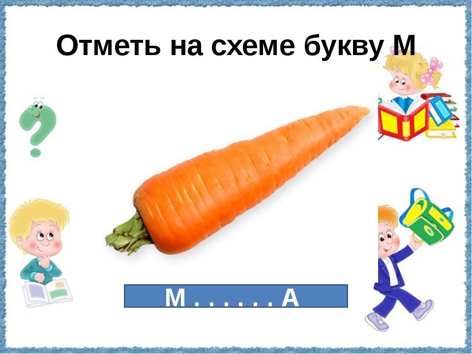 Отметь на схеме букву М М . . . . . . А