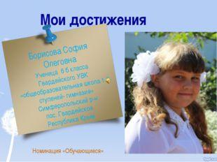 Мои достижения Номинация «Обучающиеся» Борисова София Олеговна Ученица 6 б кл
