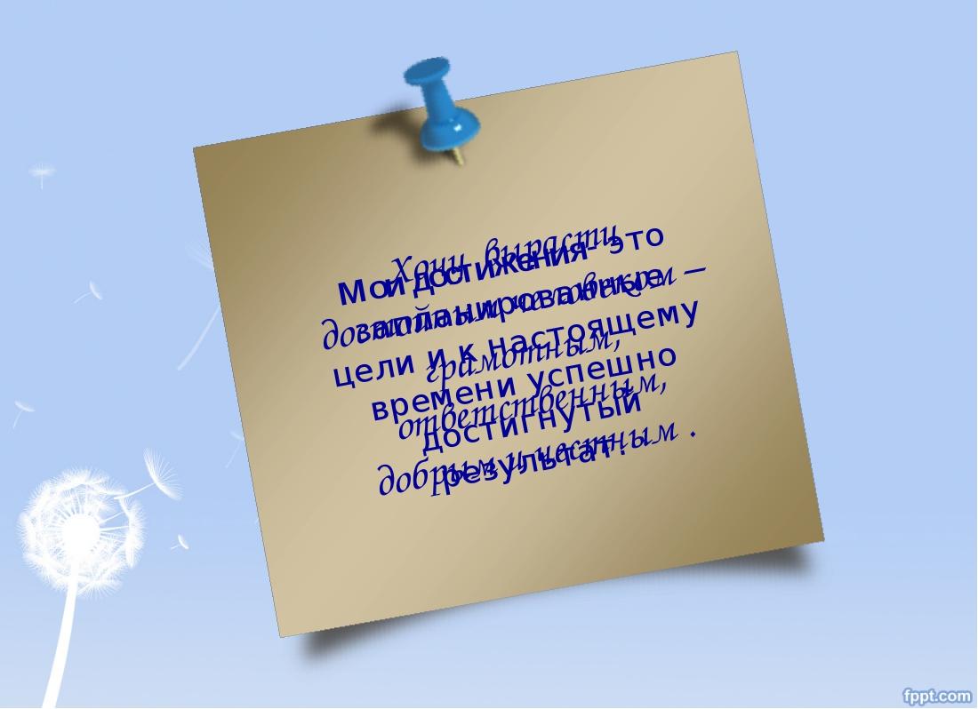 Мои достижения- это запланированные цели и к настоящему времени успешно дости...