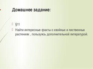 Домашнее задание: §11 Найти интересные факты о хвойных и лиственных растениях