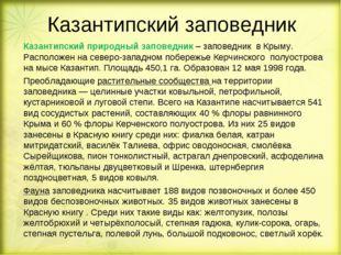 Казантипский заповедник Казантипский природный заповедник – заповедник в Кры