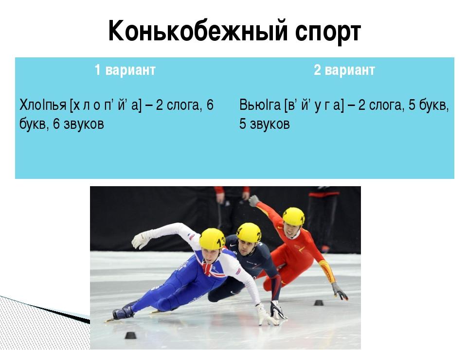 Конькобежный спорт 1 вариант 2 вариант Хло|пья[х л о п'й'а]– 2 слога, 6 букв,...