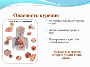 Опасность курения Рак легких, бронхит, заболевание сердца; Астма, нарушается