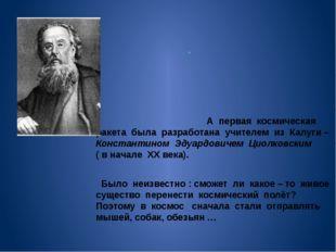 . . А первая космическая ракета была разработана учителем из Калуги – Конста