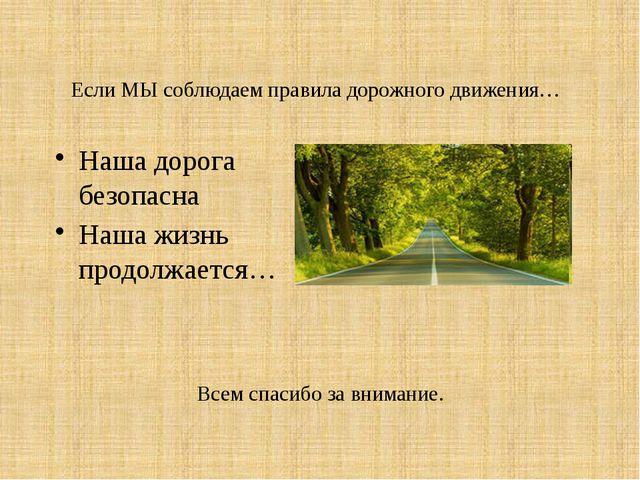 Если МЫ соблюдаем правила дорожного движения… Наша дорога безопасна Наша жизн...
