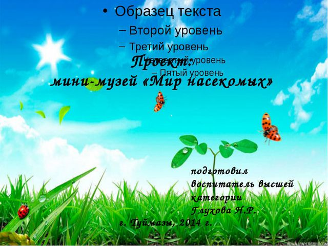 Проект: мини-музей «Мир насекомых» подготовил воспитатель высшей категории Гл...