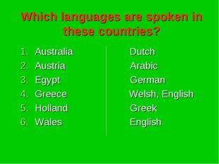 Which languages are spoken in these countries? Australia Dutch Austria Arabic