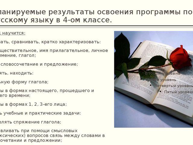 Планируемые результаты освоения программы по русскому языку в 4-ом классе. Уч...