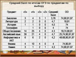 Средний балл по итогам ОГЭ по предметам по выбору
