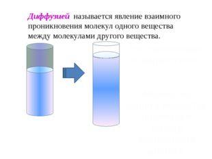 Диффузией называется явление взаимного проникновения молекул одного вещества
