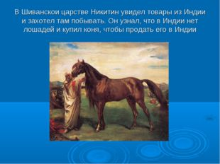 В Шиванскои царстве Никитин увидел товары из Индии и захотел там побывать. Он