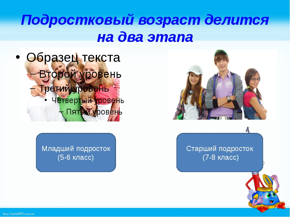 Подростковый возраст делится на два этапа Младший подросток (5-6 класс) Старш...
