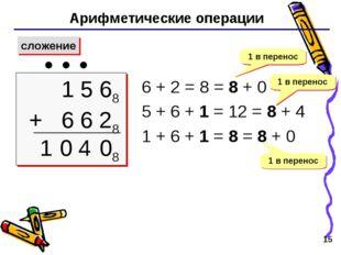 * Арифметические операции сложение 1 5 68 + 6 6 28  1 6 + 2 = 8 = 8 + 0 5 +