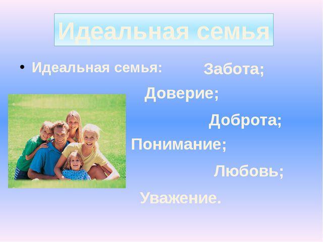 Идеальная семья: Идеальная семья Доверие; Забота; Доброта; Понимание; Любовь...