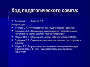 Ход педагогического совета: Докладчик : Войнова Л.А. Выступающие: Гузеева С.А