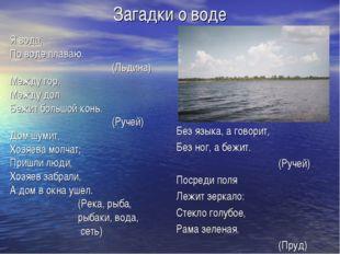 Загадки о воде Я вода, По воде плаваю. (Льдина) Между гор, Между дол Бежи