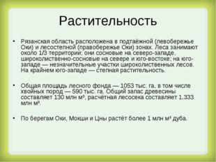 Растительность Рязанская область расположена в подтаёжной (левобережье Оки) и