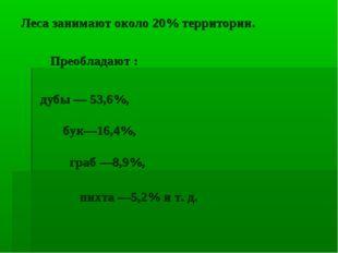Леса занимают около 20% территории. Преобладают : дубы — 53,6%, бук—16,4%, гр