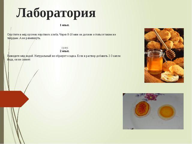 Лаборатория 1 опыт. Опустите в мёд кусочек чёрствого хлеба. Через 8-10 мин он...