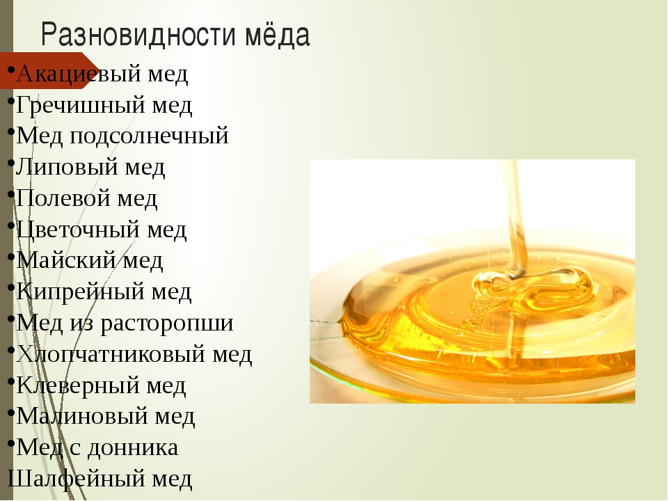 Разновидности мёда Акациевый мед Гречишный мед Мед подсолнечный Липовый мед П...
