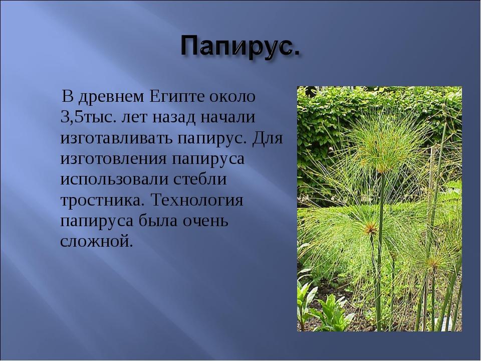 В древнем Египте около 3,5тыс. лет назад начали изготавливать папирус. Для и...