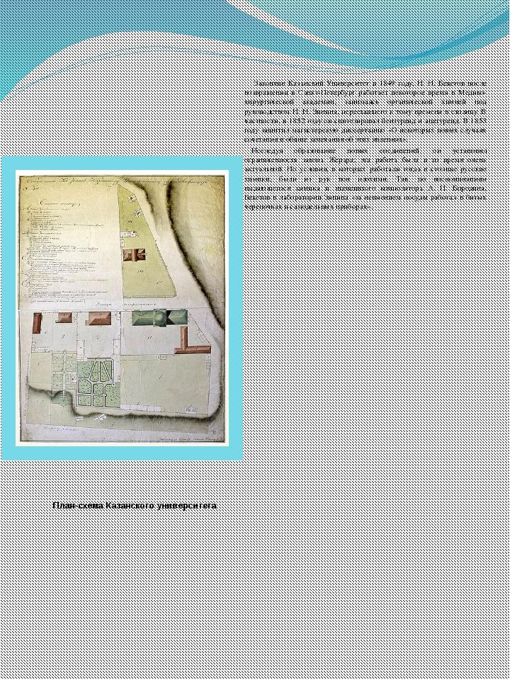 План-схема Казанского университета Закончив Казанский Университет в 1849 году...
