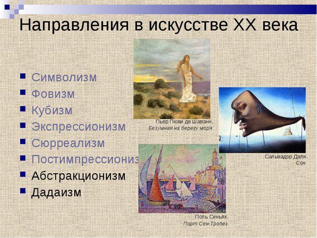 Направления в искусстве XX века Символизм Фовизм Кубизм Экспрессионизм Сюрре...