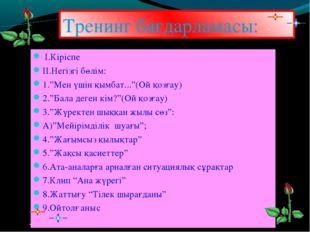 """Тренинг бағдарламасы: І.Кіріспе ІІ.Негізгі бөлім: 1.""""Мен үшін қымбат...""""(Ой қ"""