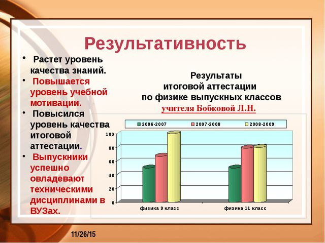 Результаты итоговой аттестации по физике выпускных классов учителя Бобковой...
