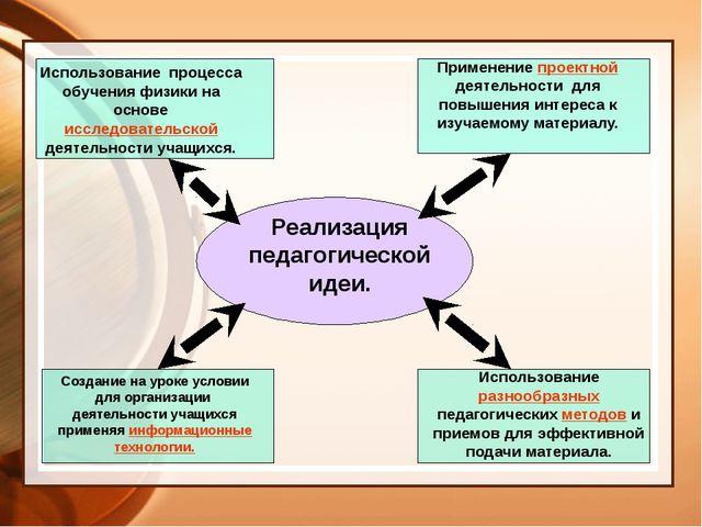 Реализация педагогической идеи. Использование процесса обучения физики на ос...