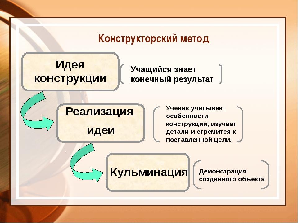 Идея конструкции Реализация идеи Кульминация Учащийся знает конечный результ...