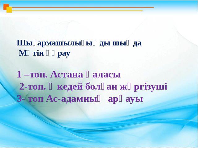 Шығармашылығыңды шыңда Мәтін құрау 1 –топ. Астана қаласы 2-топ. Әкедей болға...