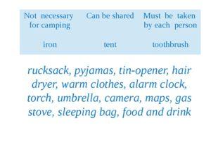 rucksack, pyjamas, tin-opener, hair dryer, warm clothes, alarm clock, torch,