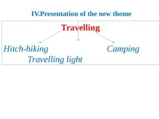 IV.Presentation of the new theme Travelling  Hitch-hiking Camping Travel
