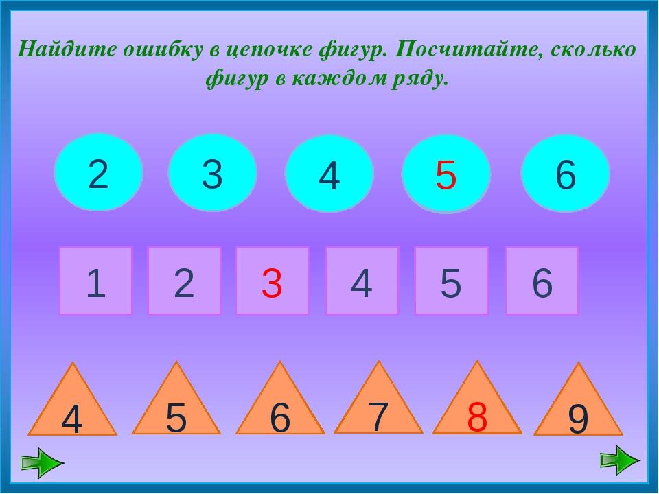 2 Найдите ошибку в цепочке фигур. Посчитайте, сколько фигур в каждом ряду. 2...