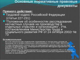 Основные нормативные правовые документы Прямого действия: Трудовой кодекс Рос