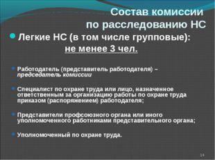 Состав комиссии по расследованию НС Легкие НС (в том числе групповые): не мен