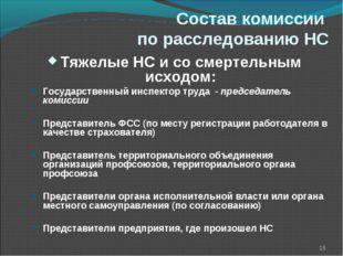 Состав комиссии по расследованию НС * Тяжелые НС и со смертельным исходом: Го