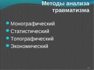 Методы анализа травматизма Монографический Статистический Топографический Эко