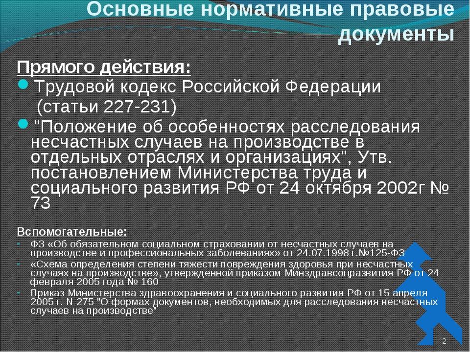 Основные нормативные правовые документы Прямого действия: Трудовой кодекс Рос...