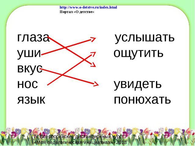 глаза услышать уши ощутить вкус нос увидеть язык понюхать http://www.o-detstv...