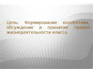 Цель: Формирование коллектива, обсуждение и принятие правил жизнедеятельности