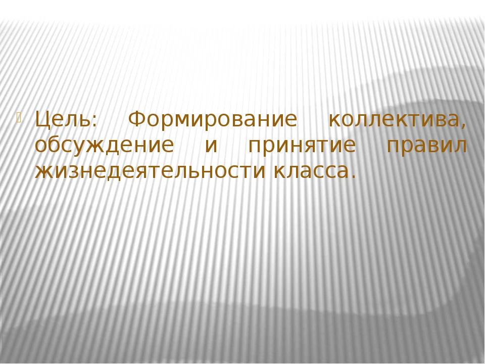 Цель: Формирование коллектива, обсуждение и принятие правил жизнедеятельности...
