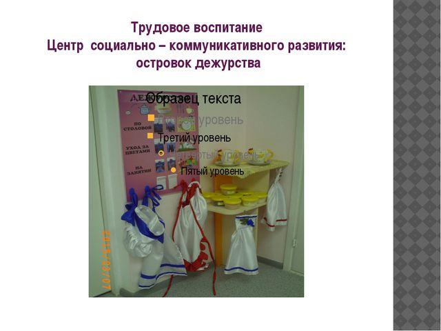 Трудовое воспитание Центр социально – коммуникативного развития: островок деж...