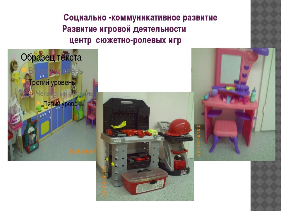 Социально -коммуникативное развитие Развитие игровой деятельности центр сюже...