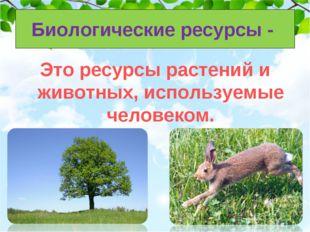 Биологические ресурсы - Это ресурсы растений и животных, используемые человек
