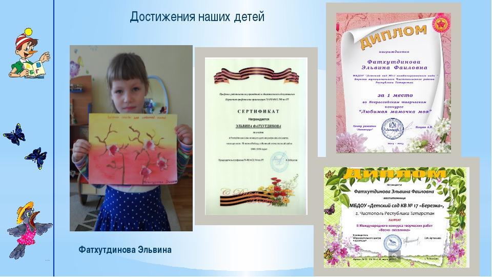 Достижения наших детей Фатхутдинова Эльвина Однажды прекрасная принцесса отп...