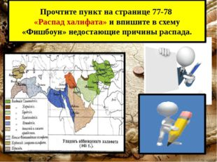 Прочтите пункт на странице 77-78 «Распад халифата» и впишите в схему «Фишбоун